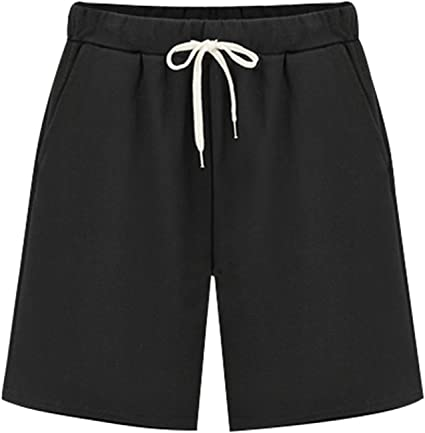 Vcansion Womens Casual Cotton Elastic Waist Knee Length Bermuda Shorts with Drawstring