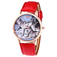 Womens Wolf Quartz Watches,Ulanda-EU Zhoulianfa Numerals Analog Clearance Lady Wrist Watch Female watches on Sale Watches for Women,Round Dial Case Comfortable Leather Wristwatch m87