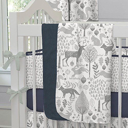 (Carousel Designs Navy and Gray Woodland Crib Blanket)