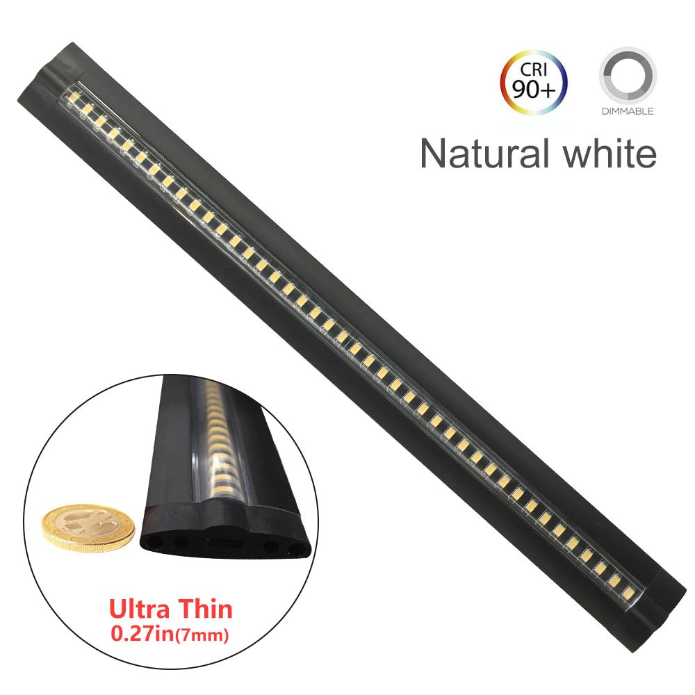 Ultra Thin Dimmable LED Under Cabinet Lighting 30cm/12in Nature White 600LM CRI90 with All Accessories Under Counter Lights Kit