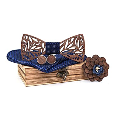 DeHolifer - Pajarita de madera para hombre, hecha a mano, incluye ...