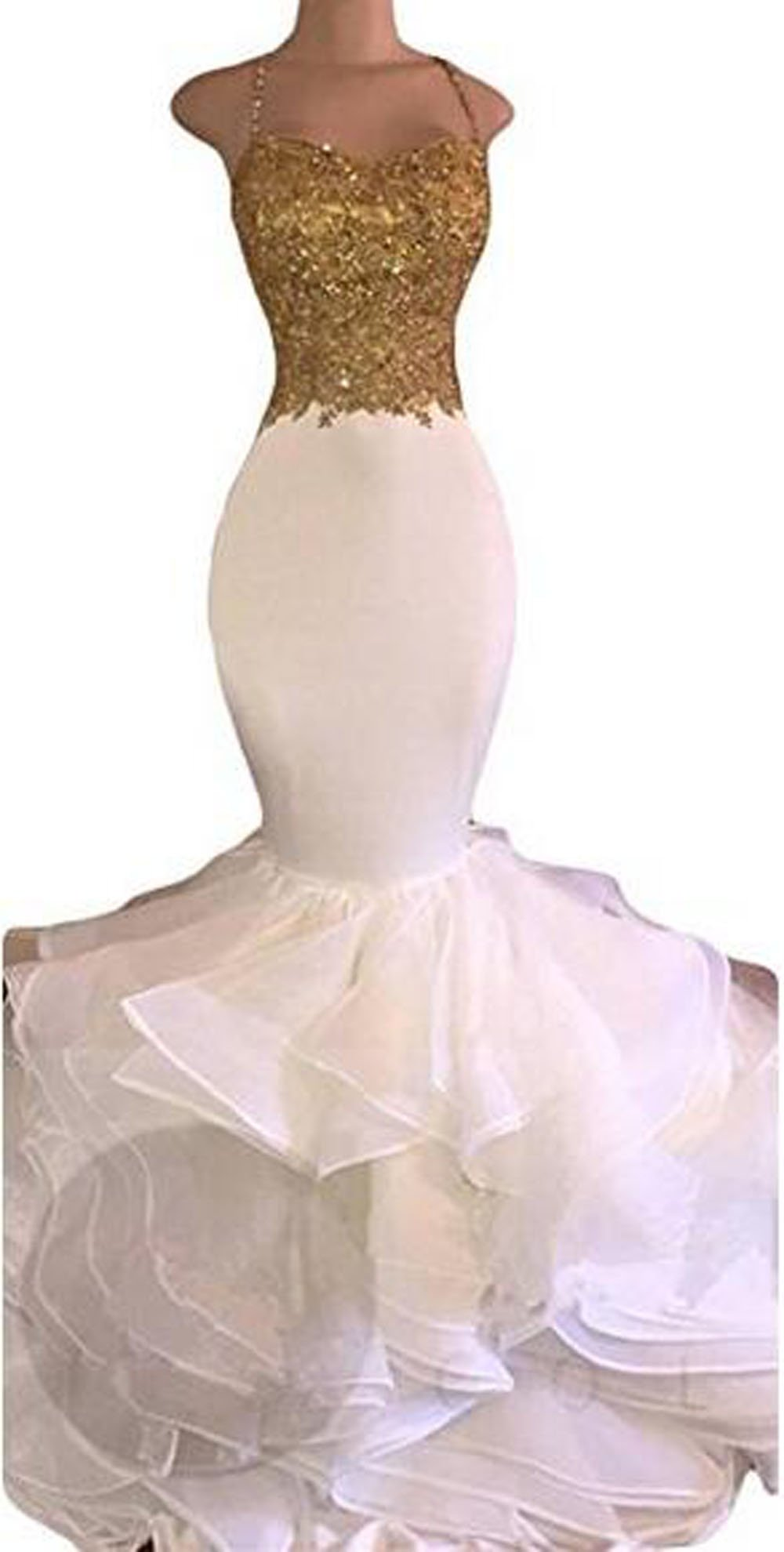 Uryouthstyle Sexy Puffy Spghetti Beaded Mermaid Evening Prom Dresses US14 Gold
