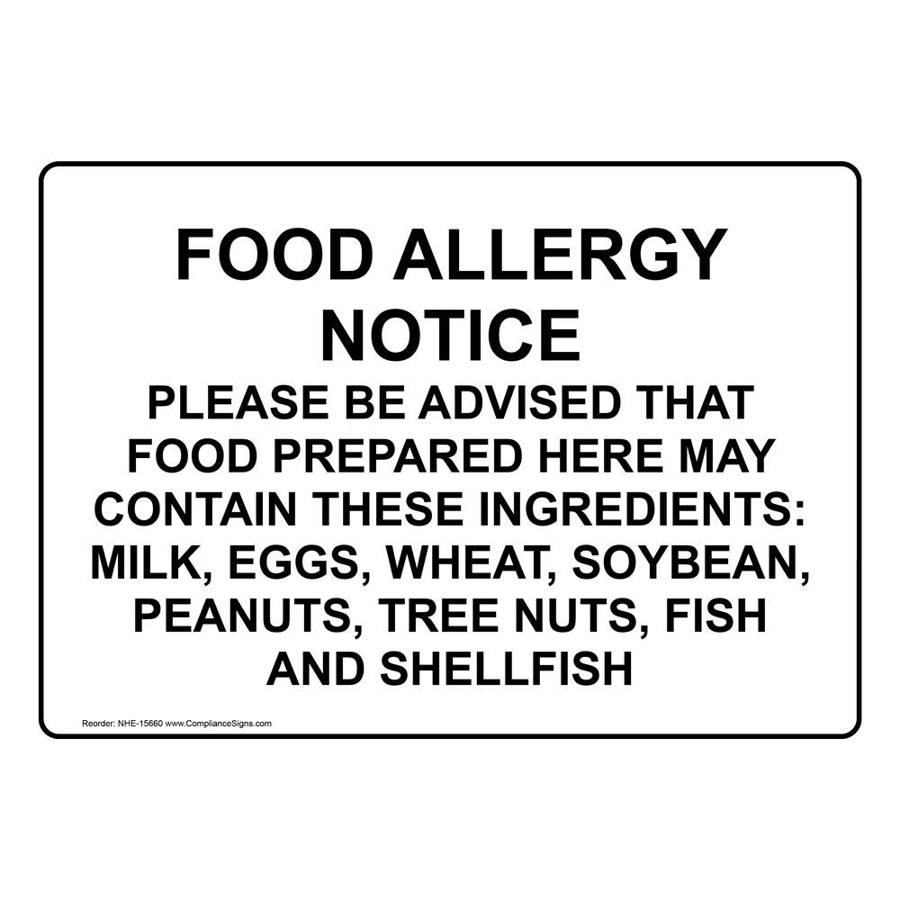 Food Allergy Notice Sign, 7x5 inch Plastic for Safe Food Handling by ComplianceSigns