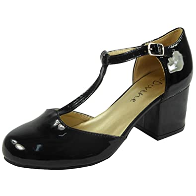 9c239f8a644e Womens Ladies T-Bar Buckle Strap Office Work Comfy Low Mid Heel Court Shoes  Size