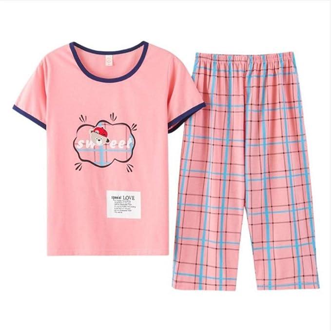 2c9d36791ed8 Meaeo Pijama De Dormir Mujer Conjuntos De Pijamas Camisetas De Manga Corta  + Pantalones De Tela Escocesa Salón Conjunto Pijamas De Cuello O:  Amazon.es: Ropa ...