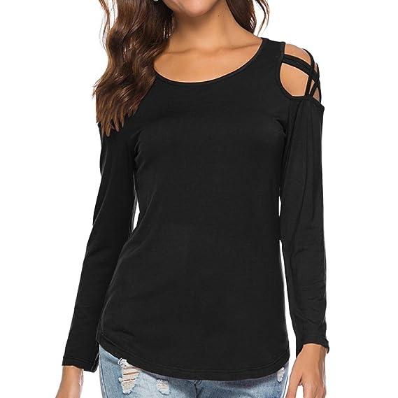 Camiseta de Tiras de Mujer,Blusas con Hombros Descubiertos de Manga Larga y
