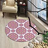 Purple Mandala Round Rugs Shabby Chic Lotus Flower Style Meditation Essence PatternOriental Floor and Carpets Lime Green Fuchsia Pink White