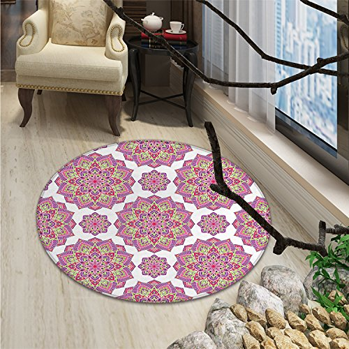 Purple Mandala Round Rugs Shabby Chic Lotus Flower Style Meditation Essence PatternOriental Floor and Carpets Lime Green Fuchsia Pink White by smallbeefly
