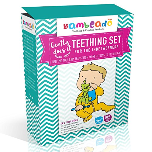 Teething Toys Set by Bambeado. The complete set of Baby Teethers and Toothbrushes required for the five stages of your child's teething development. Color combination - Lime/Yellow/Blue by Bambeado