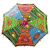 Bohemian Handmade Design, Cotton Multi Color Embrodiery Sun Umbrella Parasol 24 Inches (CYAN, FOREST GREEN, BRIGHT GREEN, ORANGE)