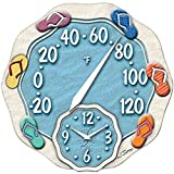 Springfield(r) Precision 91620 12'' Sandals Thermometer With Clock 13.70in. x 13.60in. x 2.80in.