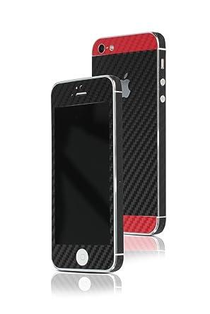 AppSkins Folien Set IPhone 5 5s SE Carbon Black Red