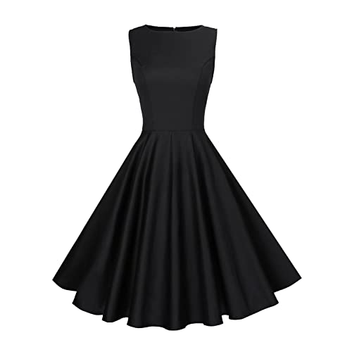 Anni Coco Womens Classy Audrey Hepburn 1950s Vintage Rockabilly Swing Dress