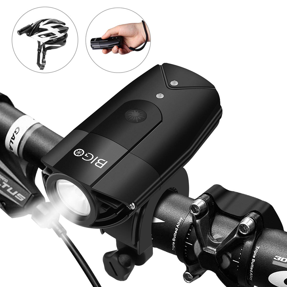 BIGO LED Bike Lights USB Rechargeable Bike Front Light 900 Lumens Super Bright Bicycle Lights Bike Headlight IP65 Waterproof 3 Light Modes Easy to Install for Cycling Safety Flashlight