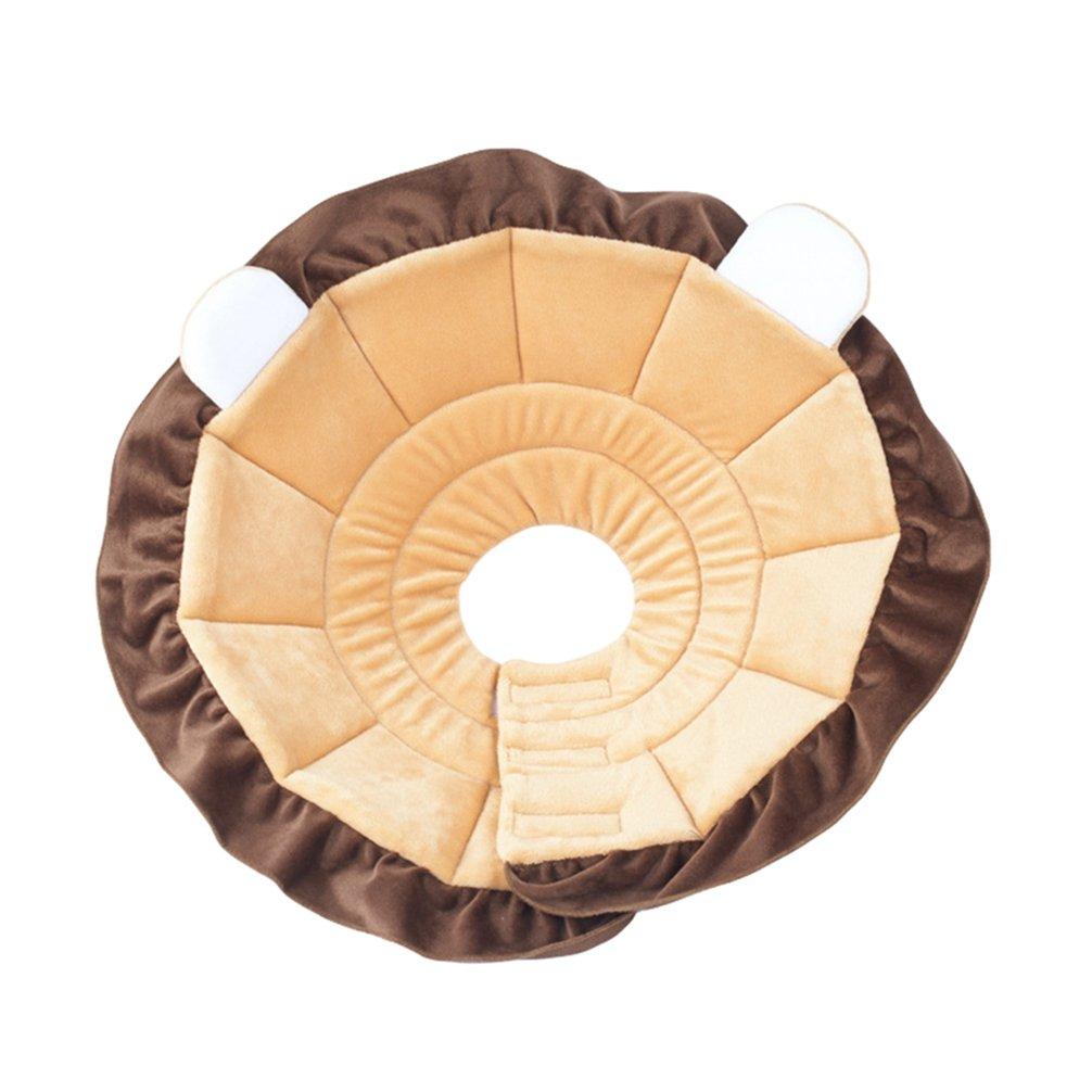 JEELINBORE Doux Mignon Collerette de Protection de Récupération de Tissu pour Chiots, Chats, Petits Chiens (Marron, M: 20-26cm)