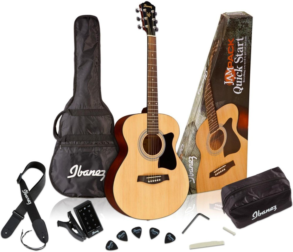 Ibanez 6 String Acoustic Guitar Pack, Right Handed, Natural (IJVC50) Hoshino USA