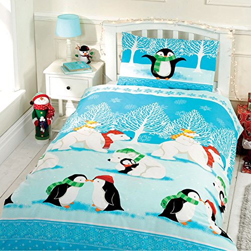 Christmas Cuddles Single/US Twin Duvet Cover and Pillowcase Set