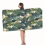Moslion Bath Towels Hawaii Colorful Palm Trees Fern Green Jade Green Orange Towel Adult soft Towel 32 X 64 Inch Bath Sheet