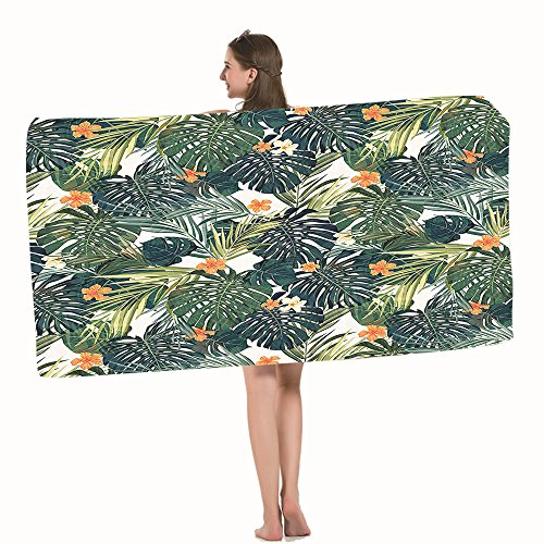 Moslion Bath Towels Hawaii Colorful Palm Trees Fern Green Jade Green Orange Towel Adult soft Towel 32 X 64 Inch Bath Sheet by Moslion