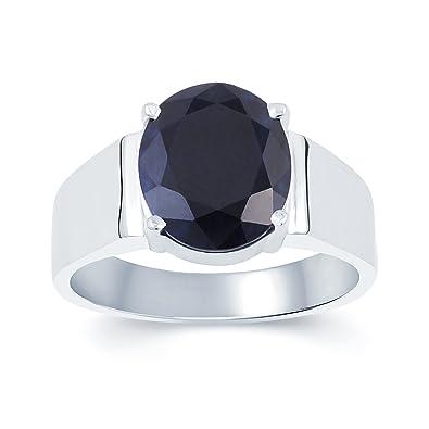 KUNDALI GEMS Blue Sapphire Neelam Stone Pure Silver Gemstone