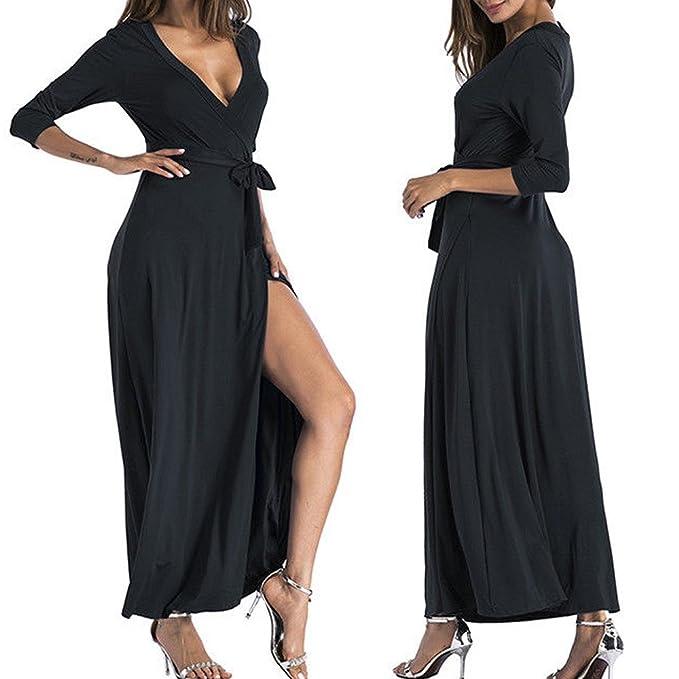 db702de7090a2f 2019 Dresses for Overmal Women Ladies V Neck Split Bandages Long Sleeve  Long Skirt Dress BK