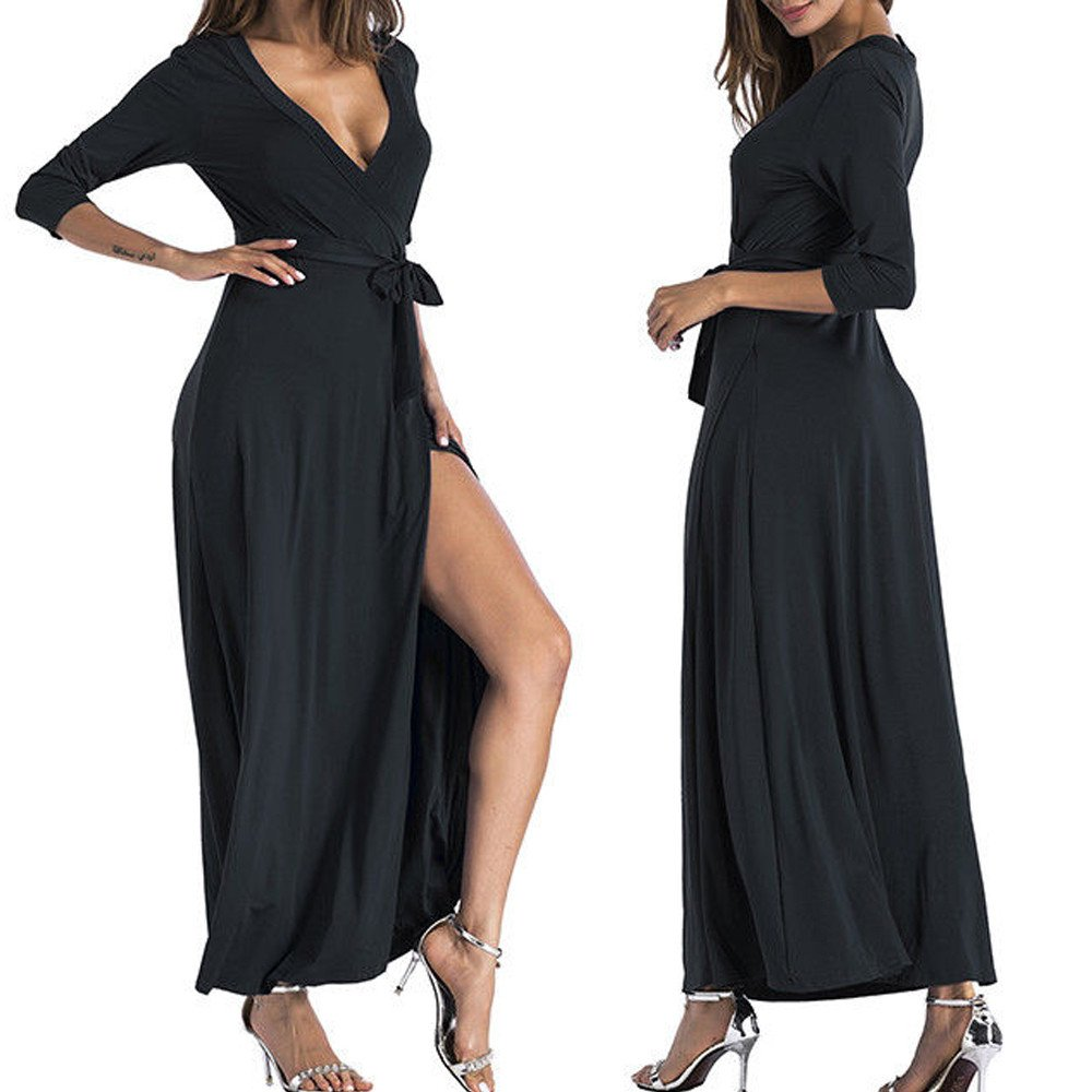 Overmal Women Ladies V Neck Split Bandages Long Sleeve Long Skirt Dress BK/L