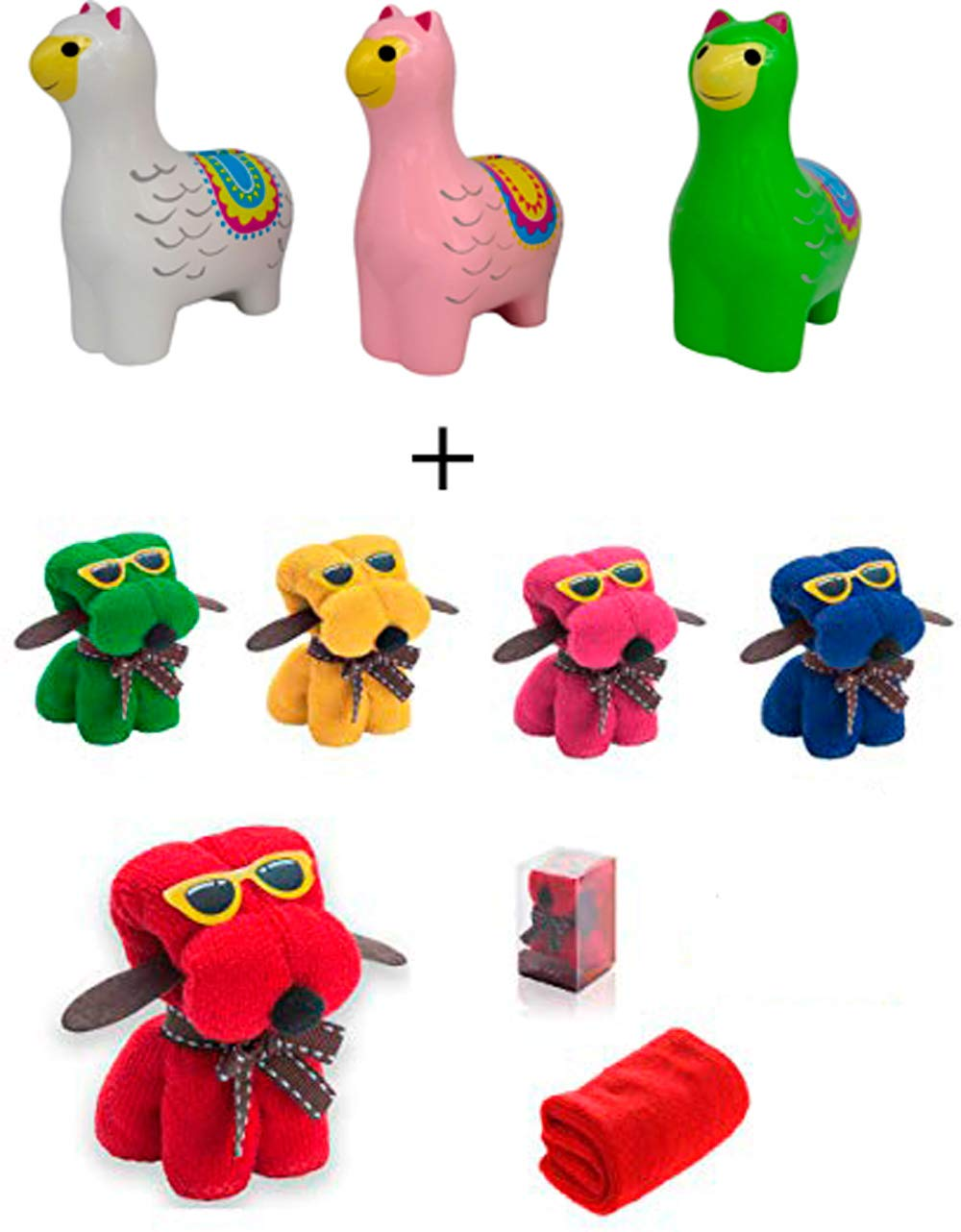 Lote 30 Toallas Perro + 3 Huchas Llamas Cerámica Detalle de Boda en Caja de Regalo - Toallas Perritos con formas Baratas, Detalles Cumpleaños, regalos ...