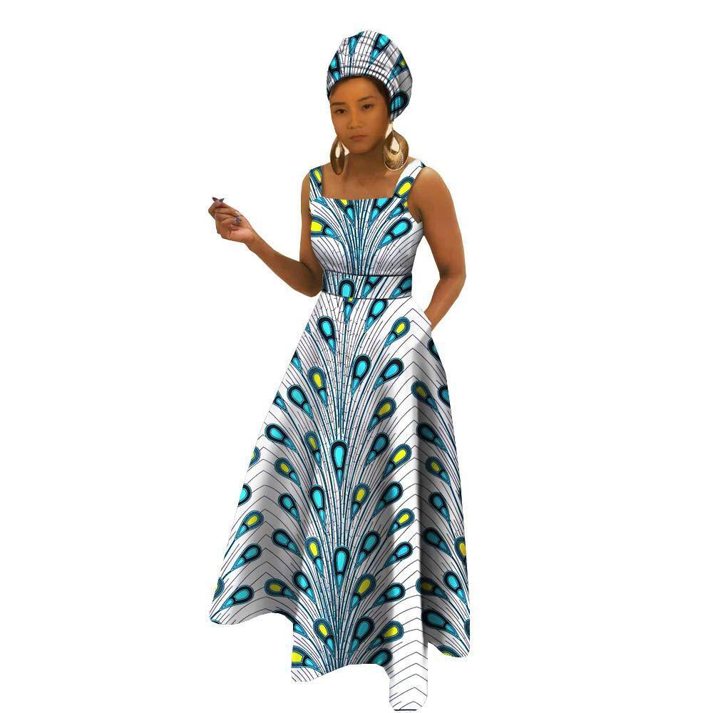 African Dresses for Women Apparel Ankara Clothing Clothes Dashiki Girl Floral Print+Headwrap 35×45 inch 475 6X