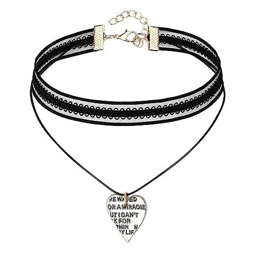 Epinki Damen Choker, Tattoo-Halskette Samt Spitze Doppel Halsband Schnüren  Herz Form Anhänger Dog b2732ffa7b