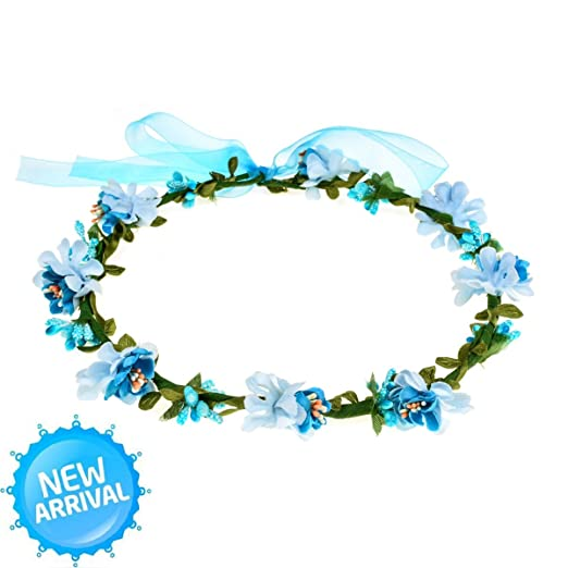 new bridal flower girl birthday picture costume flower wreath crown turquoise bl