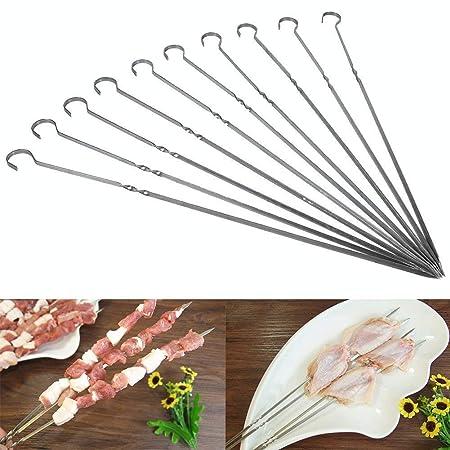 MODERN INNOVATOR 10PC Stainless Steel Flat Metal Barbecue Skewers Shish Kebab Grilling Skewers BBQ Sticks Grill Tools- Silver