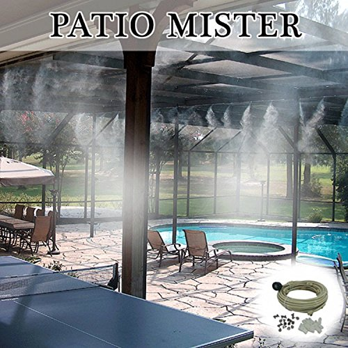 Patio Misting Kit - Pre- Assembled Misting System - Cools temperatures by up to 30 degrees - Brass/Stainless Steel Misting Nozzles - For Patio, Pool and Play areas(60ft - 16 Nozzles)