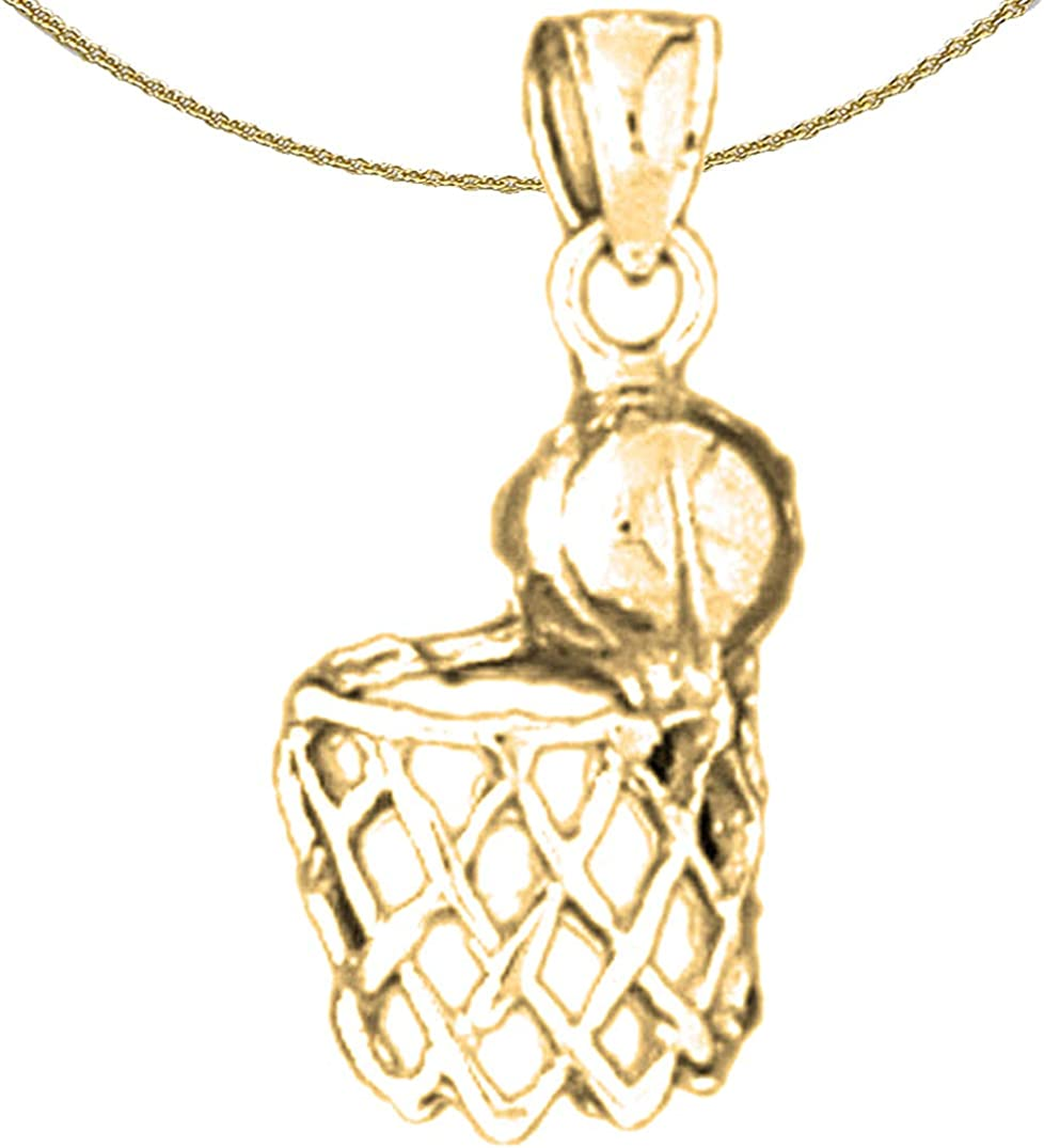 Jewels Obsession Basketball Basket Necklace 14K Rose Gold-plated 925 Silver Basketball Basket Pendant with 16 Necklace