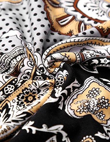 Cintree Robe en Sympa Fleurs Femme BaiShengGT Coupe Simple Bas Decontractee et Evasee Marron Legerement AHfxZqYw