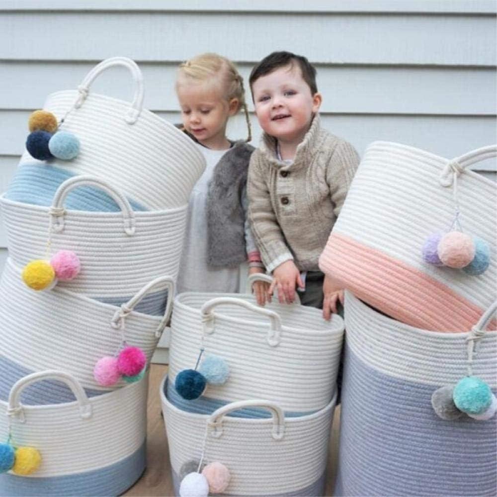 Huakaimaoyi Aufbewahrungskorb Gro/ßer gewebter Baumwollseilkorb mit Griffen Baby Aufbewahrungskorb f/ür Kinderzimmerwindeln Kinderspielzeug-50 x 40 cm/_