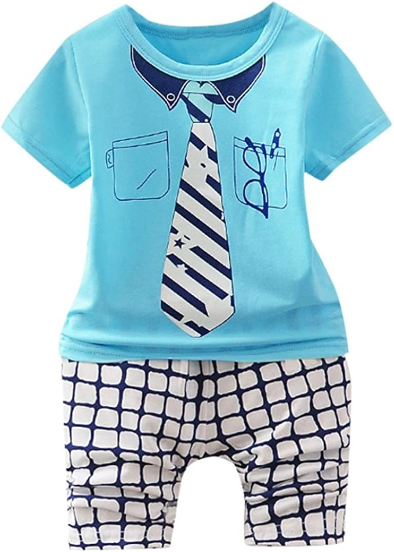 WARMSHOP Summer Clothes for 0-4T 2PC Boys Crewneck Short Sleeve Star Tie Glasses Print Stylish Tops+Plaid Pants Outfits