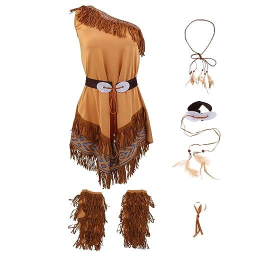 Magideal Indianerin Kostum Damen Indianer Kostum Halloween Fasching