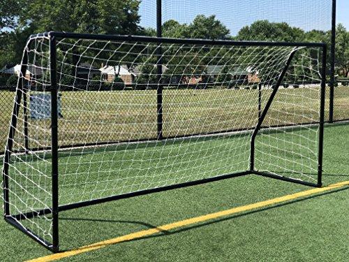 Vallerta Premier 12 X 6 Ft. AYSO Youth Regulation Size Soccer Goal w/Weatherproof 4mm Net. 50MM Diameter Black Powder Coated/Corrosion Resistant Frame. 12x6 Foot Practice Aid(1Net) ONE Year Warranty! ()