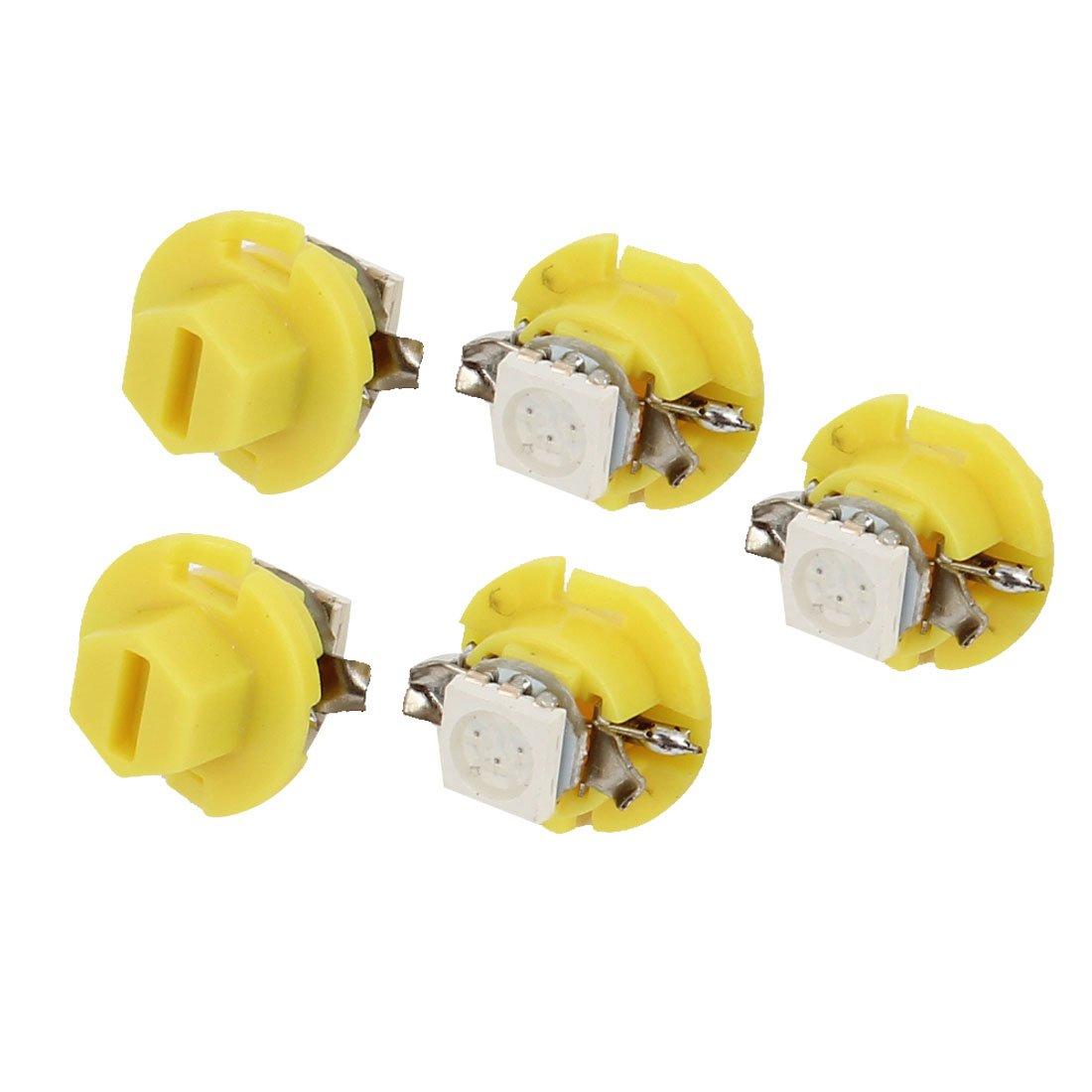 Car Yellow B8.4D 5050 SMD 1-LED Dome Roof Light Bulb 5 Pcs Internal