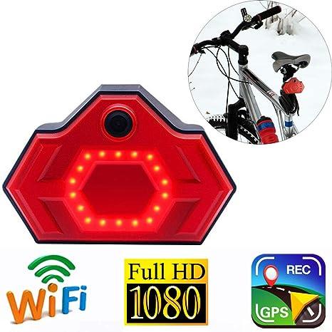 2200mAh Luz Bicicleta,WiFi GPS Full HD 1080P Cámara Deportiva con LED Potente Luz Trasera Bici, USB Recargable Pilas y Remoto Inalámbrico - Vista Trasera en Tiempo Real, como un Espejo: Amazon.es: Deportes