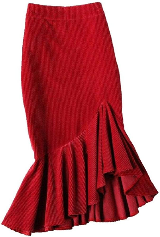 NObrand Primavera otoño Falda de Sirena de Pana Mujer Cintura Alta ...