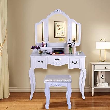 Amazon.com : Bedroom Vanity Beauty Station, Large Tri-Folding ...