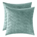 Artcest Set of 2, Decorative Velvet Bed Throw Pillow Case, Sofa Soft Quilted Pattern, Comfortable Couch Cushion Cover, 18''x18'' (Seafoam)