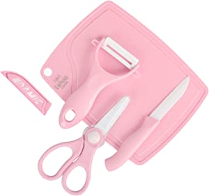 Lehoo Castle Ceramic Scissors for baby food, 4 in 1 Ceramic Knife Set for Kids Including Scissors, Kife, Peeler and Cutting Board, Safety Complementary Food Shears and Cutters for Baby (Pink)