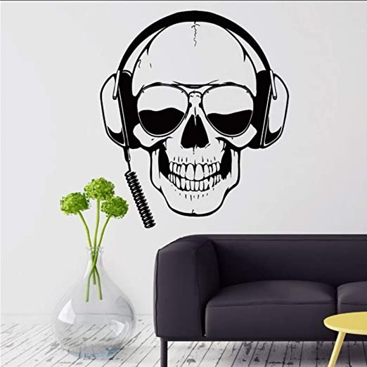 Makeyong Gamer Tatuajes De Pared Skull Headphones Gamer ...
