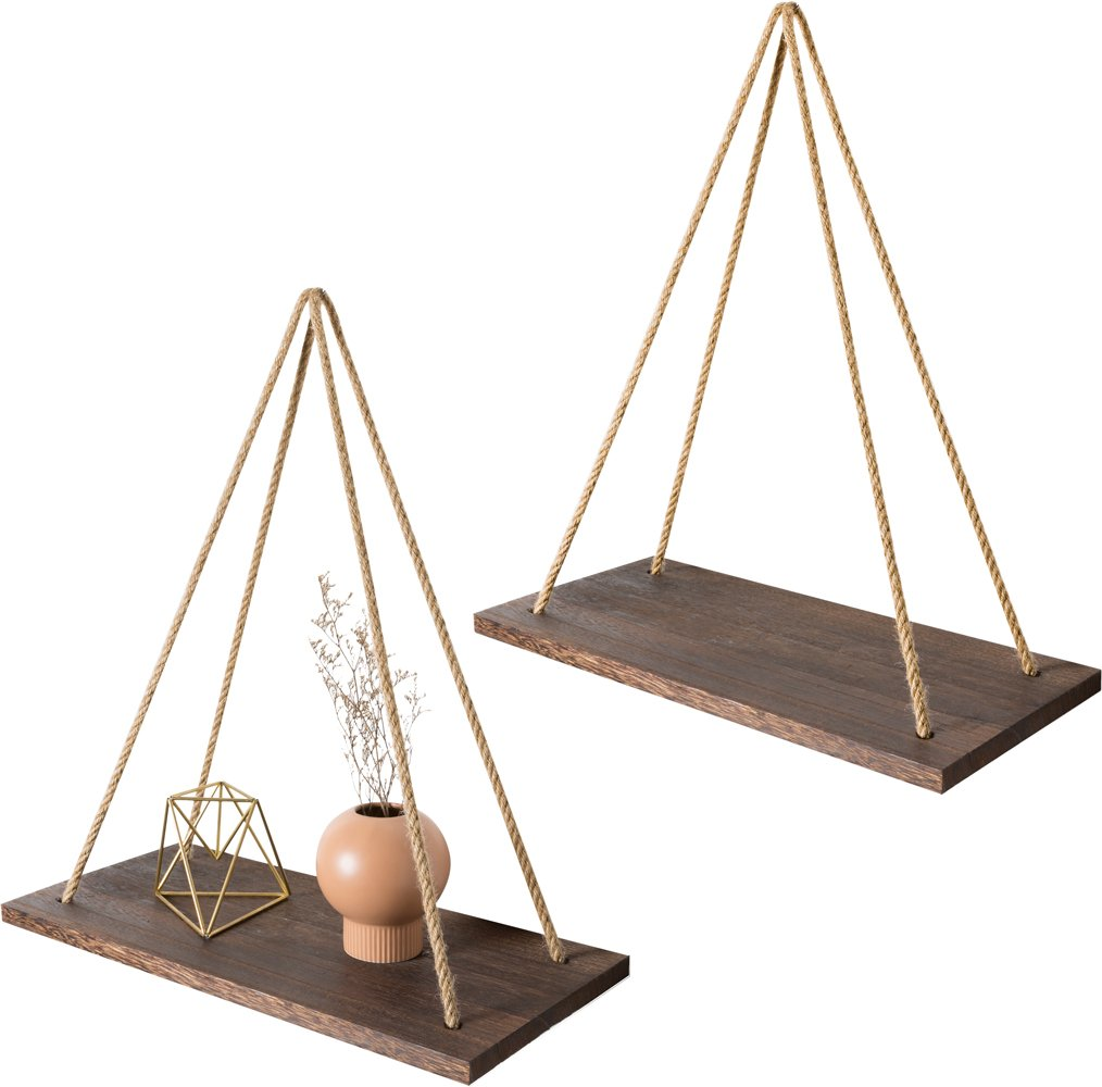 Mkono Wood Wall Floating Shelf Rustic Hanging Swing Rope Shelves, Set of 2 Wall Display Shelves Home Organizer Boho Decor Shelves for Living Room Bedroom Bathroom Kitchen - ✔ Home decor & organizer- Set of 2 wood hanging shelves are the perfect piece for any rustic, modern, or natural home decor. Hung with natural jute, they have a unique, rustic charm. They allow to better organize spaces and to put all sorts of things on display. They are perfect choice for adding additional shelving space for collectibles, plants, crafts, photos and more. Their simplicity makes them versatile! ✔ Premium quality wall shelves- Made of paulownia wood, jute rope,The wood board is under anti-mildew treatment so it can not be moldy.Perfect for displaying potted plants, family photos, collectibles and so much more. The props in the picture are not included. ✔ multipurpose floating shelves- Rope hanging shelves are great wood wall decor for your kitchen dining room, living room, bedroom, farmhouse, apartment, dorm room, or office. Alternatively, they can be hung on the wall, in front of a window, on the window or on a terrace, indoor or outdoor. - wall-shelves, living-room-furniture, living-room - 61gYa0o%2BjgL -