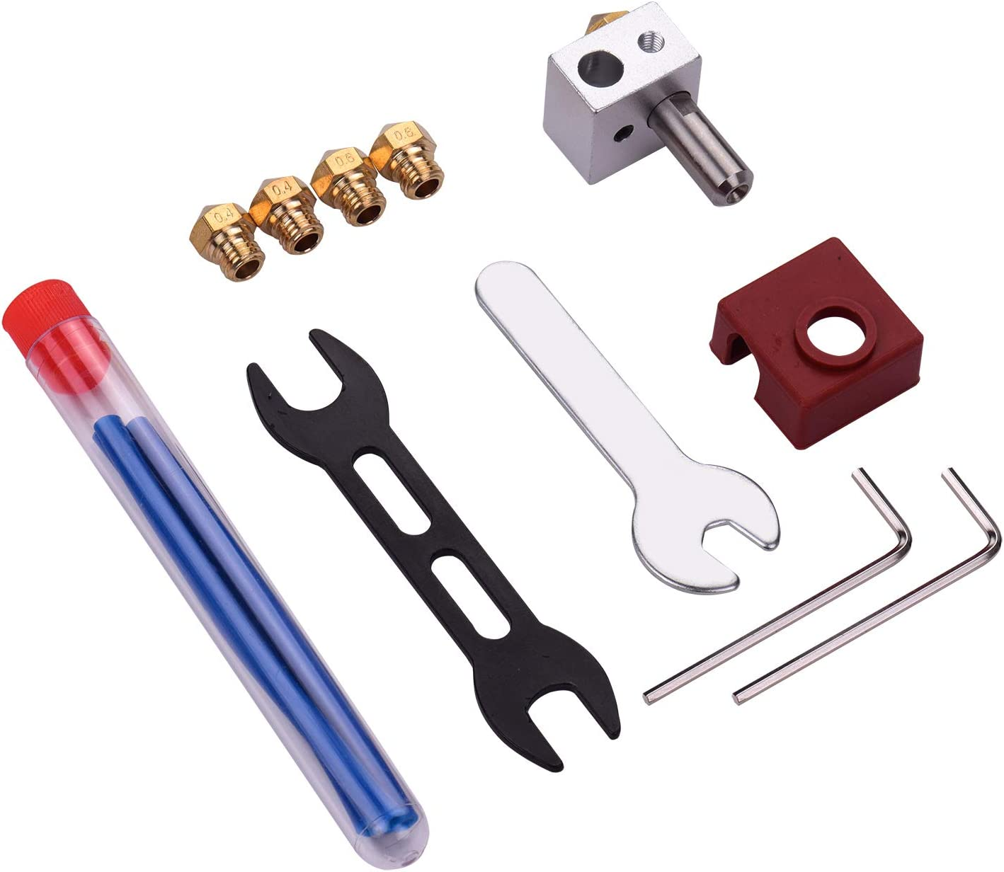 MK10 Hotend Kit Extruder Set with Heat Block Brass Nozzle Throat Tube PTFE Tube Silicone Sock Compatible with FlashForge Creator Pro Creator X Dreamer Finder Fesjoy for 3D Printer Mk10 Hotend Kit