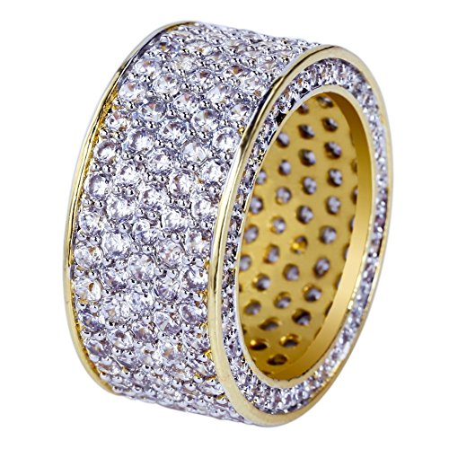 (JINAO 18K Gold 11mm Eternity Wedding Engagement Band MICROPAVE CZ Iced Out Mens Ring)