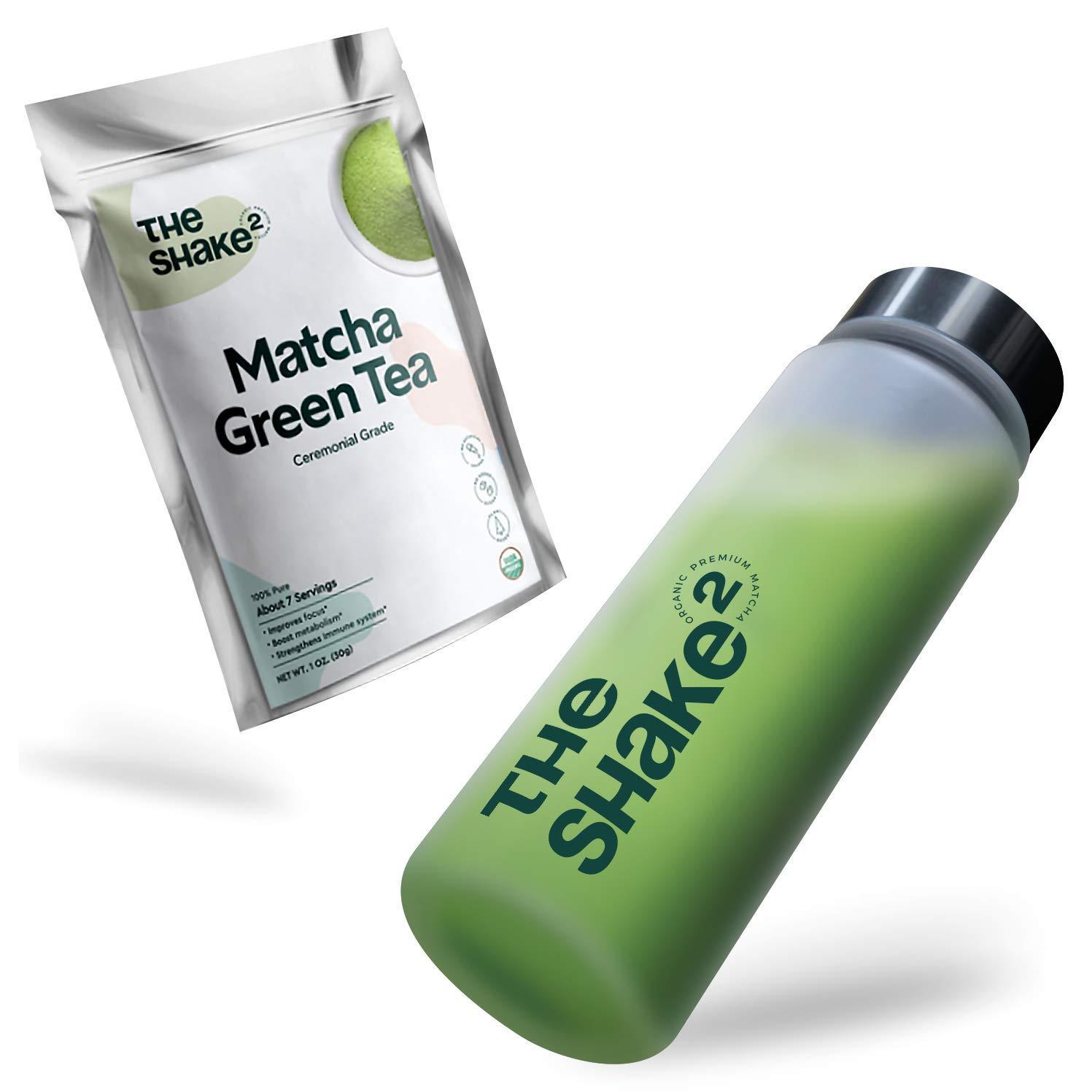 The Shake2 Matcha Green Tea Set- Premium First Harvest Ceremonial Grade, Japanese Blend from Kagoshima - Organic Powder with BPA Free Shaker Bottle - Made of Tritan Plastic - Antioxidant Rich - 30g