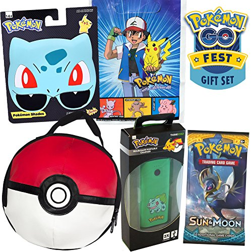 Bulbasaur Pokemon Go Fest Gift Set by ColorBoxCrate, Includes Bulbasaur Sunglasses, 9 inch Pokeball Lunch Bag, Pokemon Sun Moon Cards Pack, Portable Bulbasaur Backup, Plus Vintage Ash Pokemon Gift - Monopoly Sunglasses